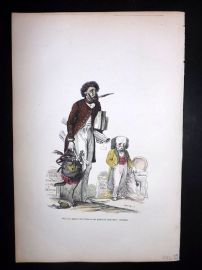 Grandville 1842 Hand Col Print. Monkey Poet with Dog